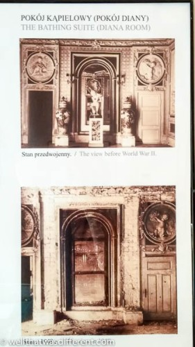 A view of the bathing room before and after WWII.