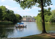 The Palace on an earlier spring day. Gondolas take visitors around the small lake.