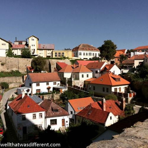 Medieval houses huddle together on the slope leading down to the river.