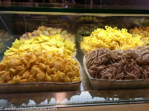 Piles and piles of fresh pasta.