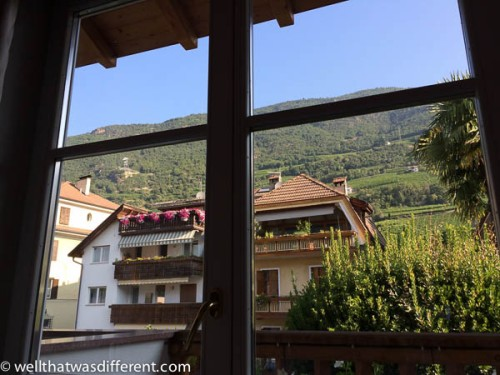 The view out the window: Tirolean hotels and a really big mountain!