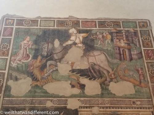 Inside the church, a nice fresco of St. George.
