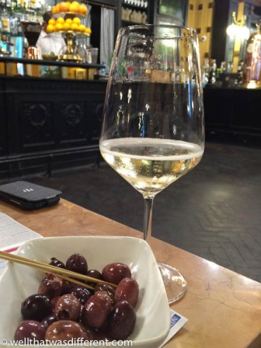 But with excellent prosecco (from nearby Prosecco) and Italian olives for an appetizer.