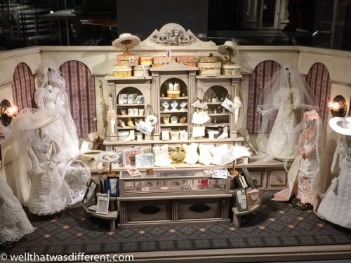 An Edwardian bridal shop. I imagine this was once a window display in England.