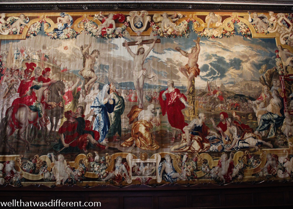 The church was unusual in that there were dozens of tapestries lining the walls.