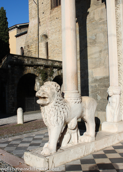 Lions of San Marco, patron saint of Venice, support the porch.