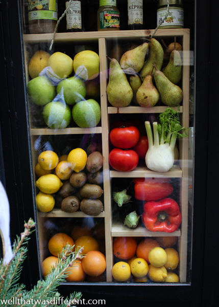 Still life in a shop window. (Really enjoying some quality produce this week!)